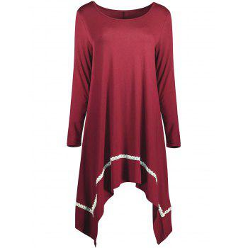 Scoop Neck Asymmetrical Plus Size Tunic Top