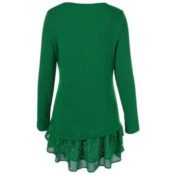 Long Sleeve Floral Lace Trim T-Shirt - GREEN L