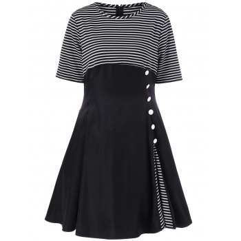 Plus Size Striped Trim Button Decorated Dress - STRIPE 3XL