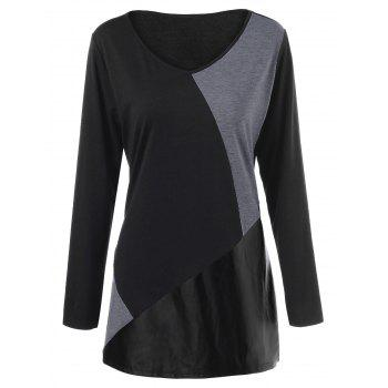 Plus Size PU Leather Trim T-Shirt