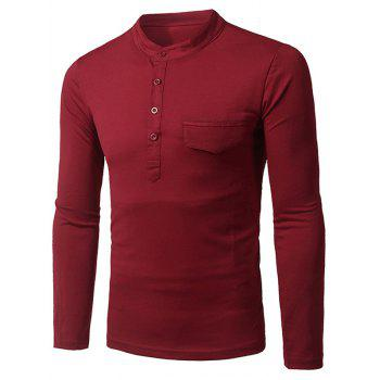 Long Sleeve Grandad Collar Half Button Pocket T-Shirt
