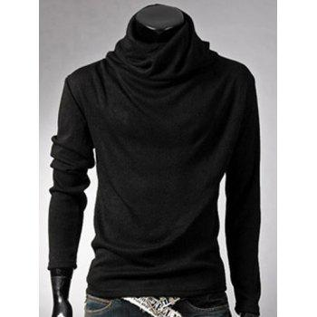 Brief Style Long Sleeve High Neck T-Shirt - BLACK BLACK