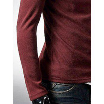 Brief Style Long Sleeve High Neck T-Shirt - WINE RED WINE RED