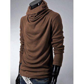 Brief Style Long Sleeve High Neck T-Shirt - COFFEE COFFEE