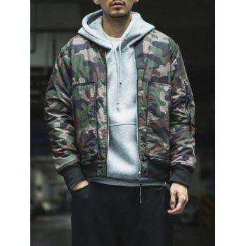 Zip Up Stand Collar Camouflage Bomber Jacket