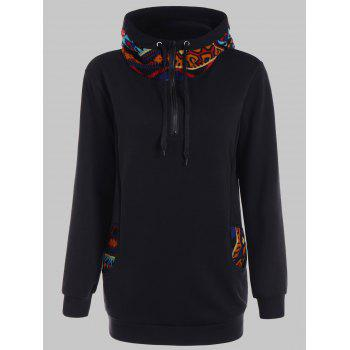 Print Panel Half Zip Long Hoodie