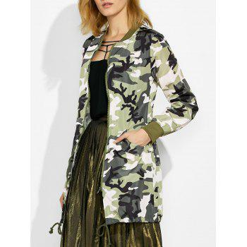 Camo Print Zip Up Coat with Pockets