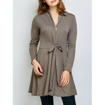 Tie Front Skirted Cardigan