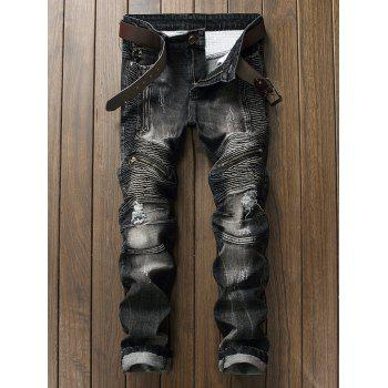 Ripped Zipper Biker Jeans