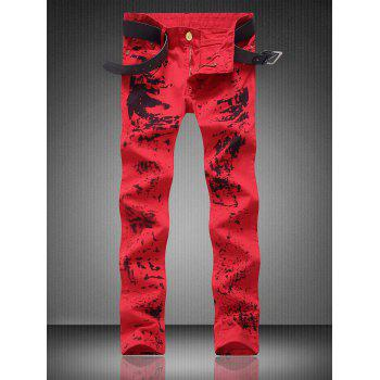Paint Splatter Zipper Fly Pocket Straight Jeans