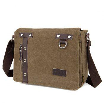 PU Panel Eyelets Messenger Bag -  COFFEE