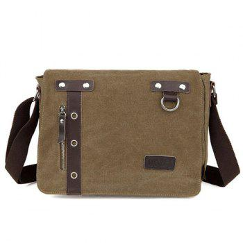 PU Panel Eyelets Messenger Bag - COFFEE COFFEE