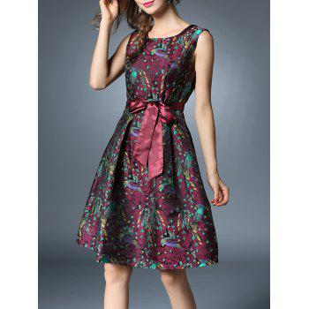 Bird Jacquard Knee Length Dress With Belt