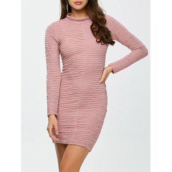 Long Sleeve Ruched Bandage Bodycon Dress