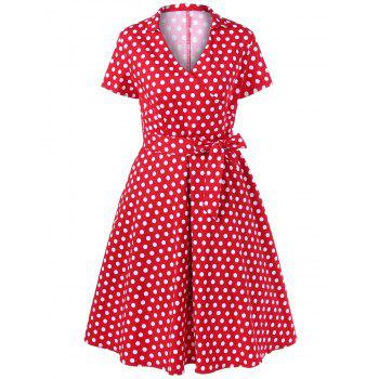 Polka Dot Plus Size Surplice Swing Dress - RED 4XL