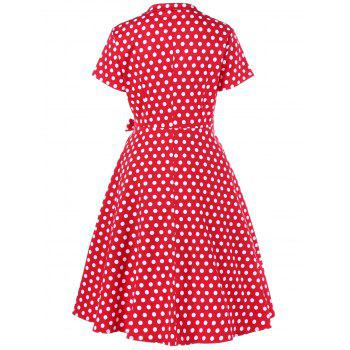Polka Dot Plus Size Surplice Swing Dress - 4XL 4XL