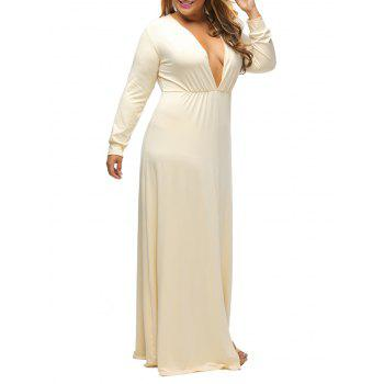 Plunge Plus Size Slit Maxi Dress With Long Sleeves - BEIGE BEIGE
