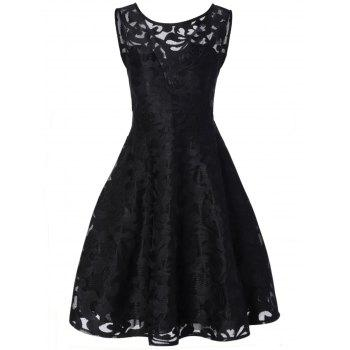 Sheer Lace Plus Size Vintage Party Short Dress