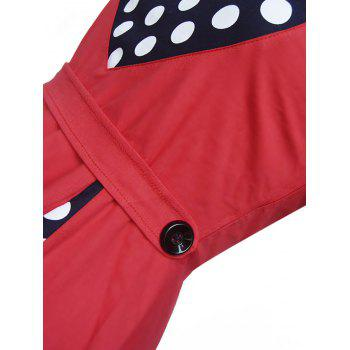 Vintage Polka Dot Panel High Waist Dress - RED RED