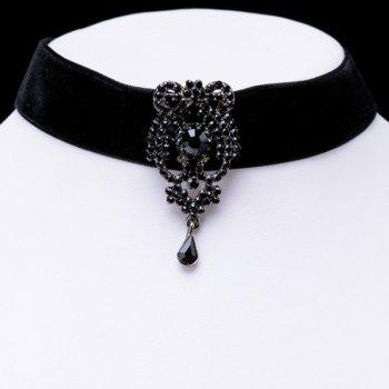 Faux Crystal Water Drop Velvet Necklace