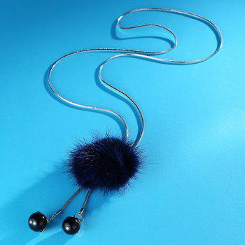 Fuzzy Ball Pendant Sweater Chain - BLUE