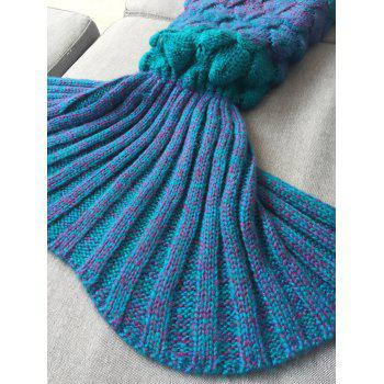 Kids Sleeping Bag Knitted Fish Scales Mermaid Blanket - BLUE
