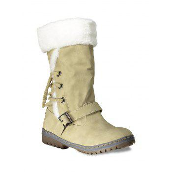 Lace Up Mid Calf Boots - YELLOW YELLOW