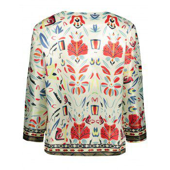 Collarless Floral Printed Blazer - S S