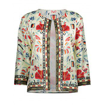 Collarless Floral Printed Blazer