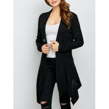 Asymmetric Cable Knit Cardigan