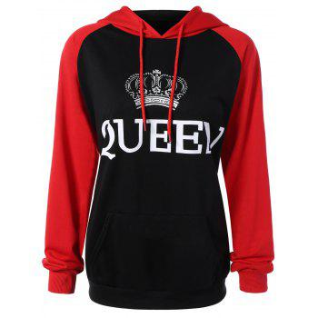 Drawstring Queen Graphic Hoodie with Pocket