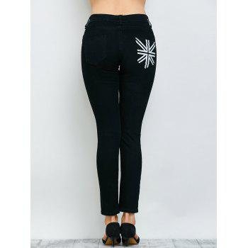 Flag Print Zipper Design Jeans - BLACK 29