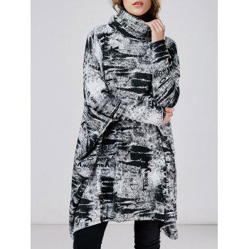 Oversized Tie-Dye Turtleneck Dress