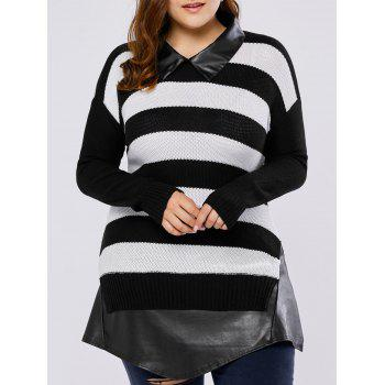 Plus Size Stripe Faux Leather Insert Sweater
