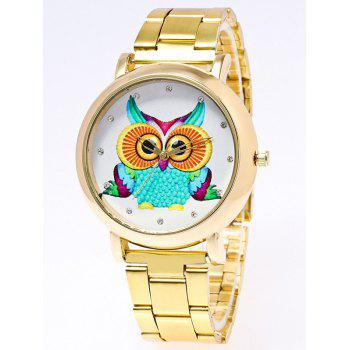 Owl Print Rhinestone Stainless Steel Watch