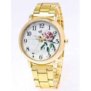 Flower Leaves Print Stainless Steel Watch