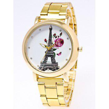 Flower Eiffel Tower Print Stainless Steel Watch