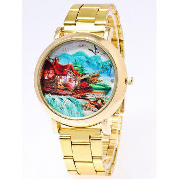 Rhinestone Print Stainless Steel Watch