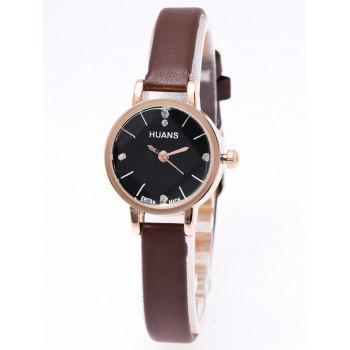 Artificial Leather Rhinestone Watch