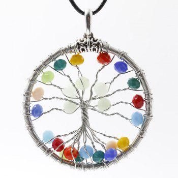 Beaded Metal Tree of Life Necklace