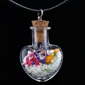 Dried Flower Glass Bottle Heart Necklace