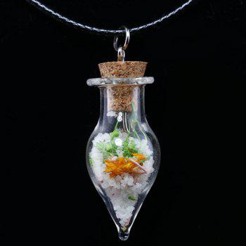Dried Flower Glass Bottle Tapered Necklace