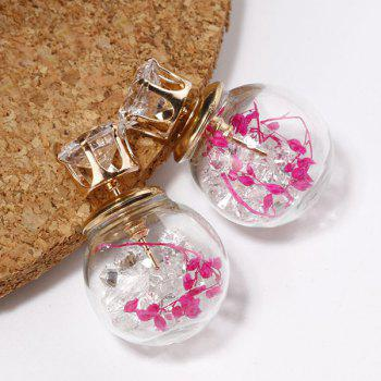 Rhinestone Glass Ball Double End Earrings