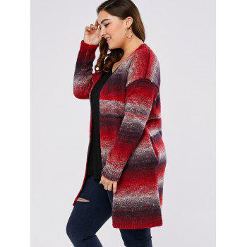 Plus Size Knitted Long Cardigan - RED 5XL