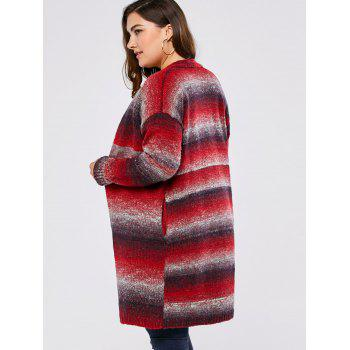 Plus Size Knitted Long Cardigan - RED 3XL