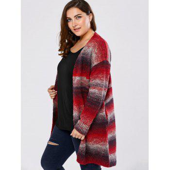 Plus Size Knitted Long Cardigan - RED 2XL
