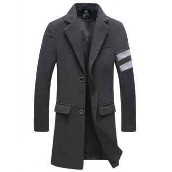Turndown Collar Longline Single Breasted Woolen Blends Coat