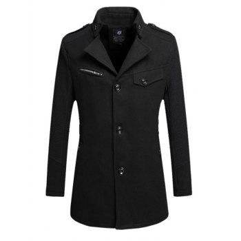 Turndown Collar Epaulet Design Single Breasted Wind Coat