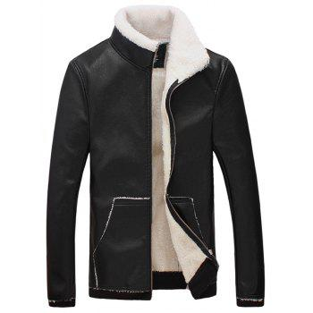 Flocking Stand Collar Faux Leather Jacket