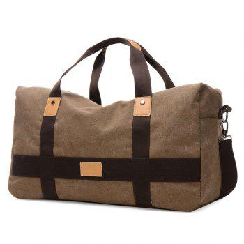 Zipper Double Pocket Canvas Tote Bag - BROWN BROWN
